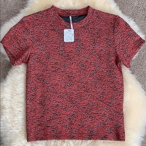 Free People Red Woven Textured Top, Large NWT